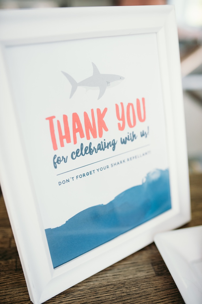 "Thank you, favor signage from a ""Chomp"" Shark Themed Birthday Party on Kara's Party Ideas 