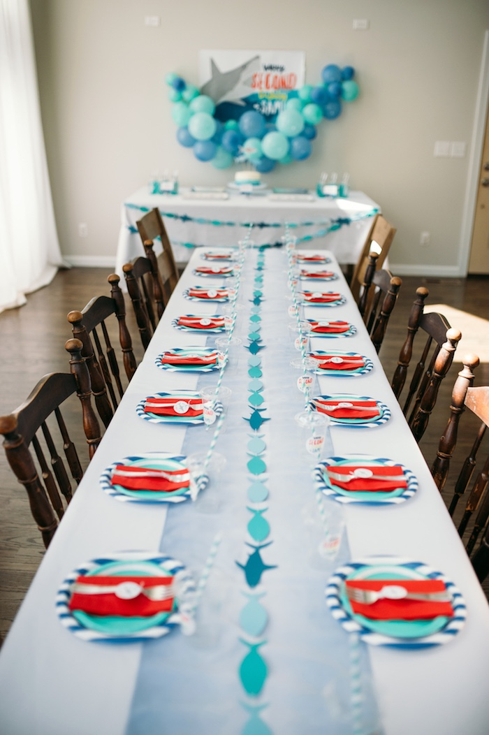 "Party tables from a ""Chomp"" Shark Themed Birthday Party on Kara's Party Ideas 