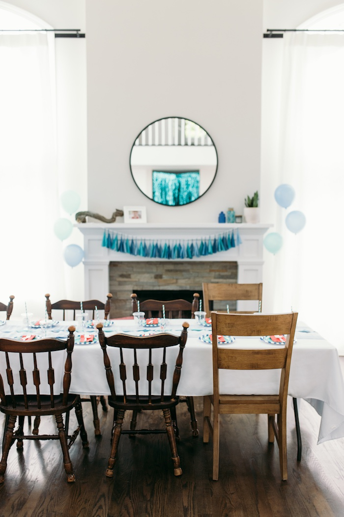 "Guest table from a ""Chomp"" Shark Themed Birthday Party on Kara's Party Ideas 