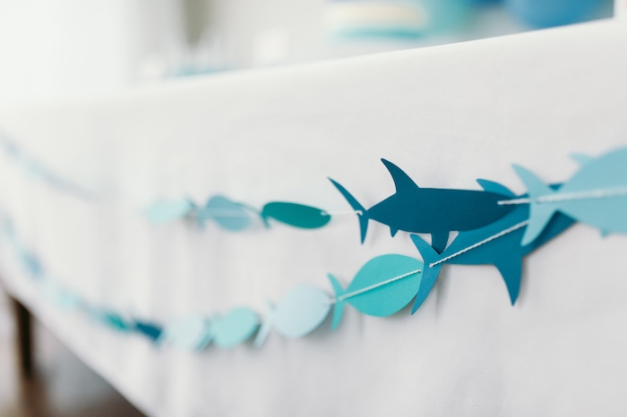 "Shark garland from a ""Chomp"" Shark Themed Birthday Party on Kara's Party Ideas 