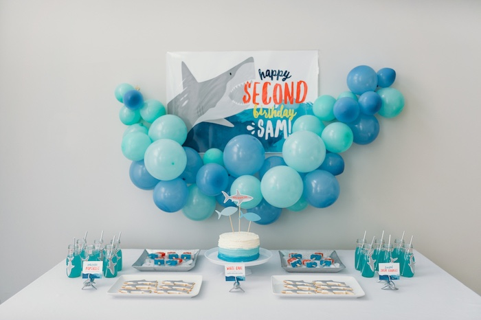 "Shark fin dessert table from a ""Chomp"" Shark Themed Birthday Party on Kara's Party Ideas 