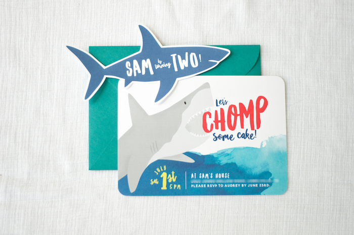 "Shark Party Invite from a ""Chomp"" Shark Themed Birthday Party on Kara's Party Ideas 