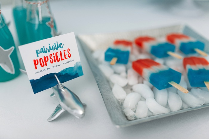 "Popsicles from a ""Chomp"" Shark Themed Birthday Party on Kara's Party Ideas 