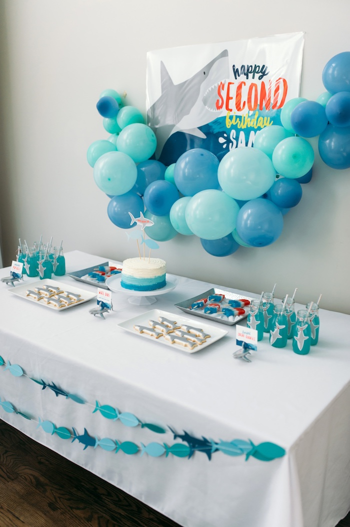 "Dessert tablescape from a ""Chomp"" Shark Themed Birthday Party on Kara's Party Ideas 