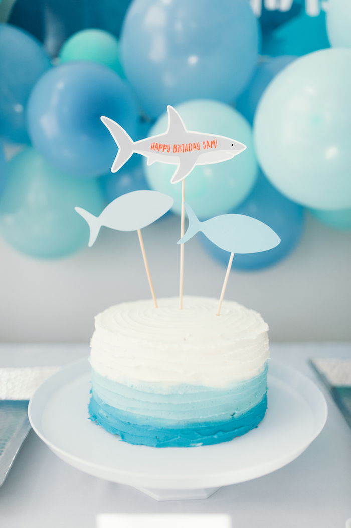 "Ombre shark cake from a ""Chomp"" Shark Themed Birthday Party on Kara's Party Ideas 