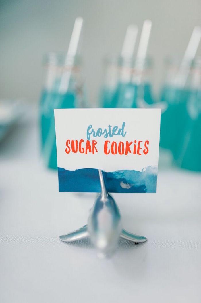 """Shark card holder + food label from a """"Chomp"""" Shark Themed Birthday Party on Kara's Party Ideas   KarasPartyIdeas.com (27)"""