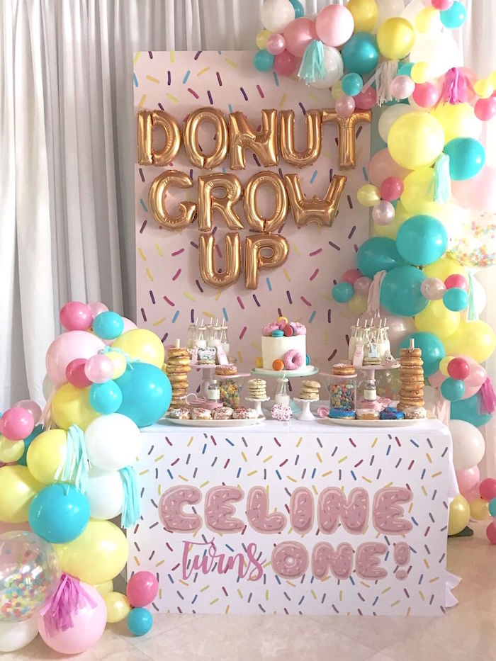 """Donut"" Grow Up 1st Birthday Party on Kara's Party Ideas 