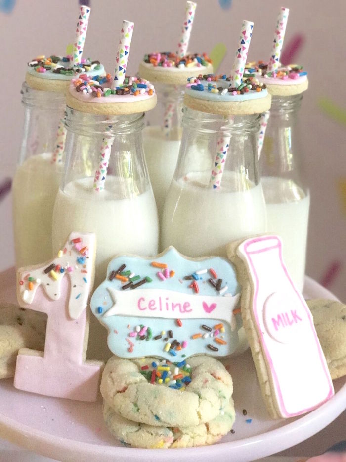 "Cookies and milk from a ""Donut"" Grow Up 1st Birthday Party on Kara's Party Ideas 