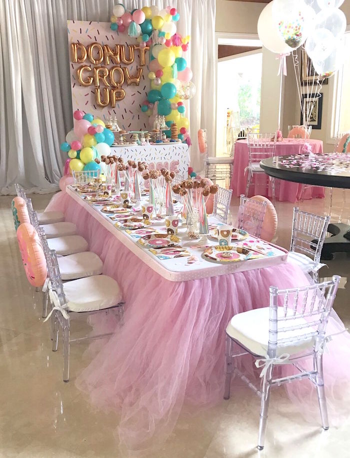 "Guest table + partyscape from a ""Donut"" Grow Up 1st Birthday Party on Kara's Party Ideas 