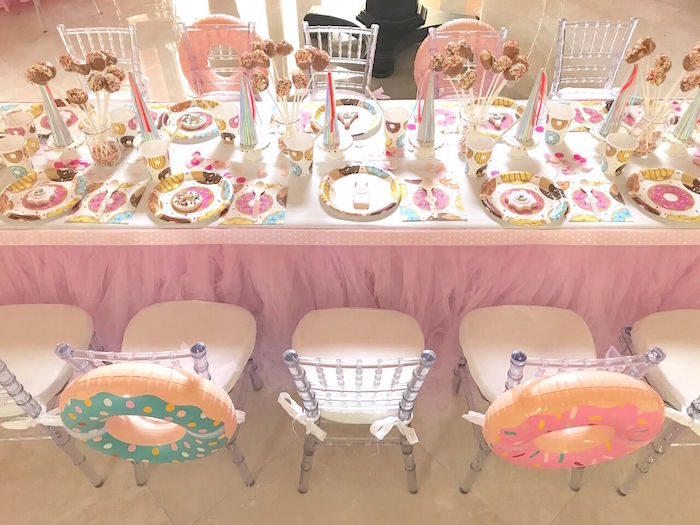 "Guest tabletop from a ""Donut"" Grow Up 1st Birthday Party on Kara's Party Ideas 