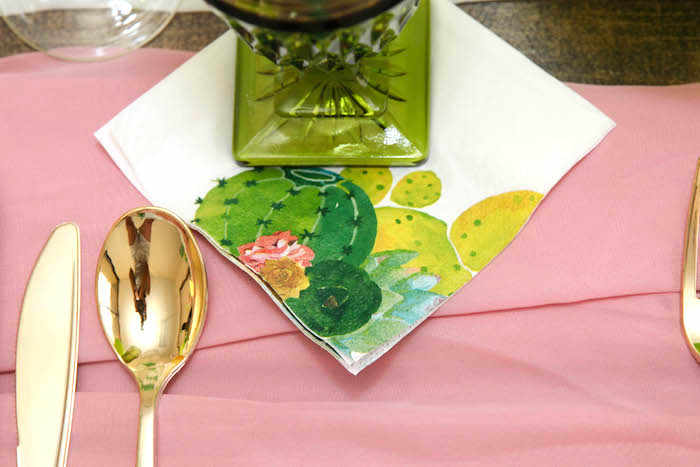 "Cactus printed napkin from a ""Love Grows Here"" Cactus Themed Wedding on Kara's Party Ideas 
