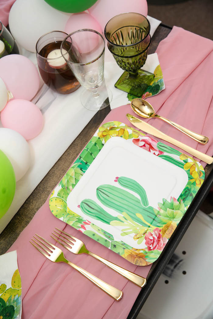 "Cactus-inspired place setting from a ""Love Grows Here"" Cactus Themed Wedding on Kara's Party Ideas 