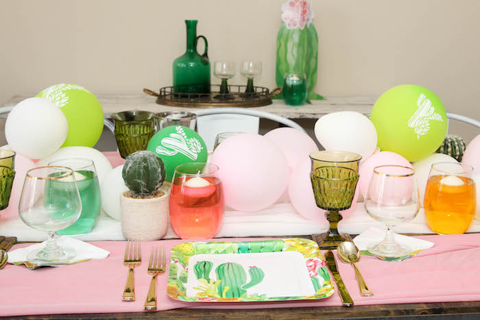 """Guest table detail from a """"Love Grows Here"""" Cactus Themed Wedding on Kara's Party Ideas 