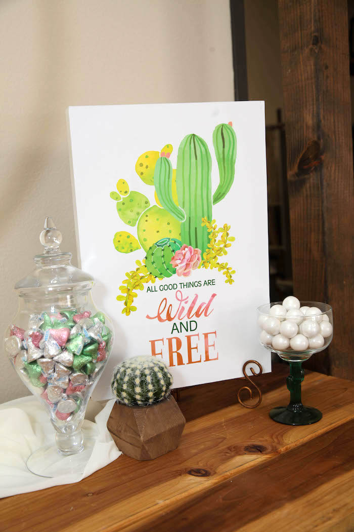 "Wild & Free Cactus Sign from a ""Love Grows Here"" Cactus Themed Wedding on Kara's Party Ideas 
