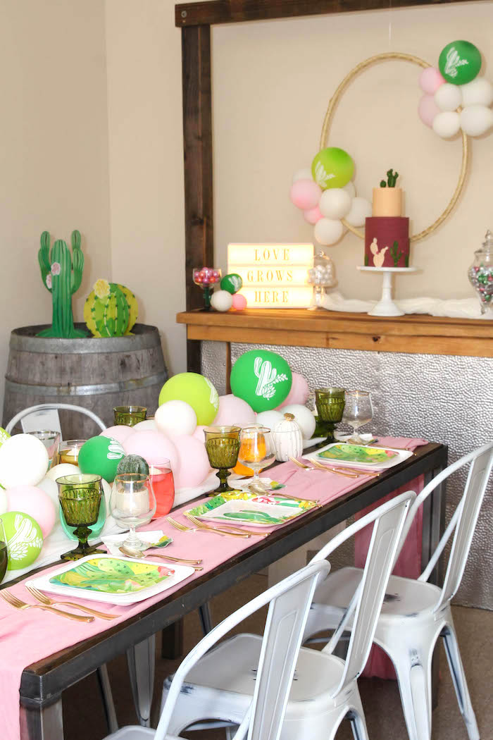 """Party tables from a """"Love Grows Here"""" Cactus Themed Wedding on Kara's Party Ideas 