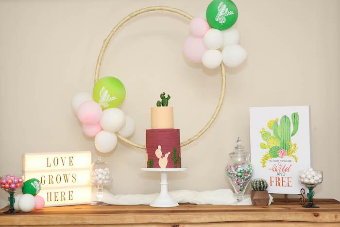 "Cactus sweet table from a ""Love Grows Here"" Cactus Themed Wedding on Kara's Party Ideas | KarasPartyIdeas.com (6)"