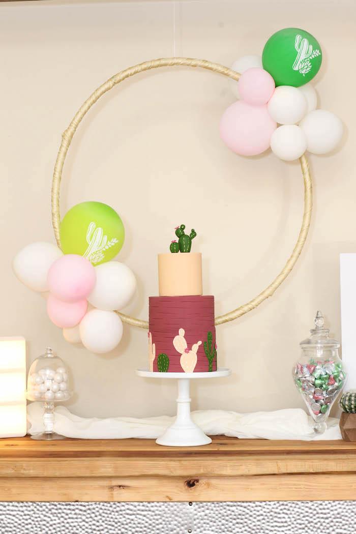 "Cactus cake table from a ""Love Grows Here"" Cactus Themed Wedding on Kara's Party Ideas | KarasPartyIdeas.com (22)"
