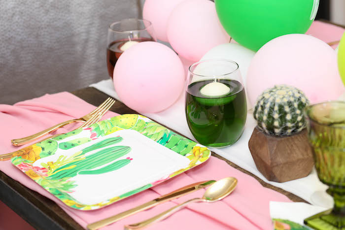 """Place setting from a """"Love Grows Here"""" Cactus Themed Wedding on Kara's Party Ideas 