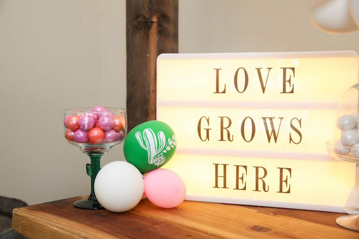 "Love Grows Here lightbox sign from a ""Love Grows Here"" Cactus Themed Wedding on Kara's Party Ideas 