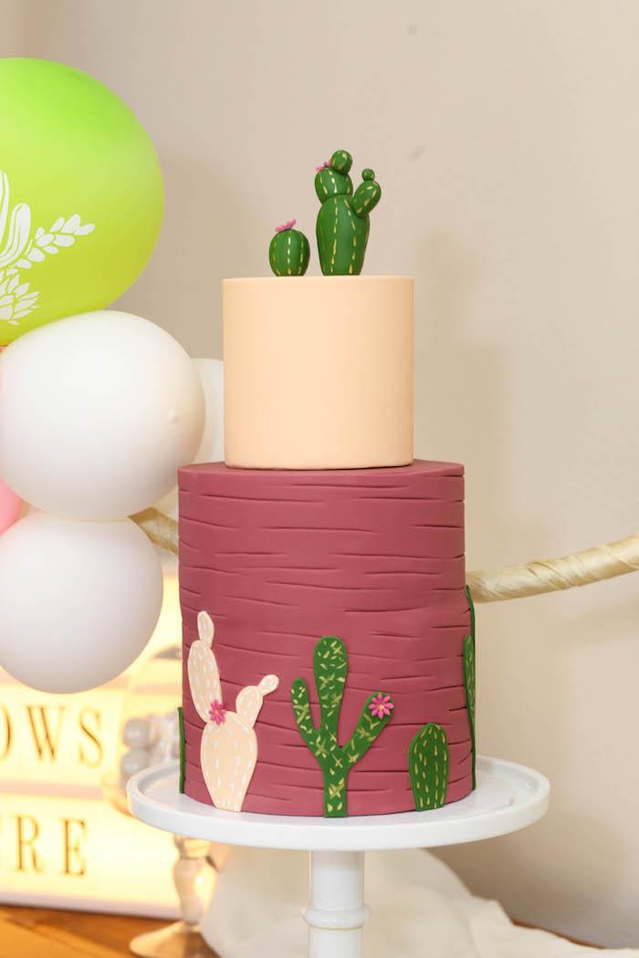 "Cactus cake from a ""Love Grows Here"" Cactus Themed Wedding on Kara's Party Ideas | KarasPartyIdeas.com (19)"