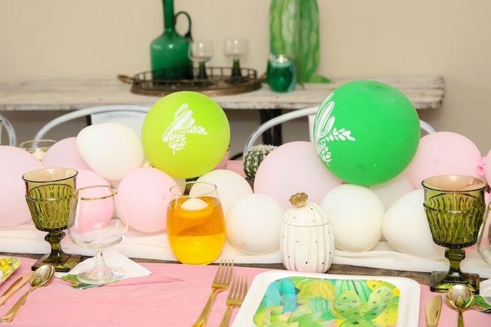 "Balloon runner + centerpiece from a ""Love Grows Here"" Cactus Themed Wedding on Kara's Party Ideas | KarasPartyIdeas.com (18)"