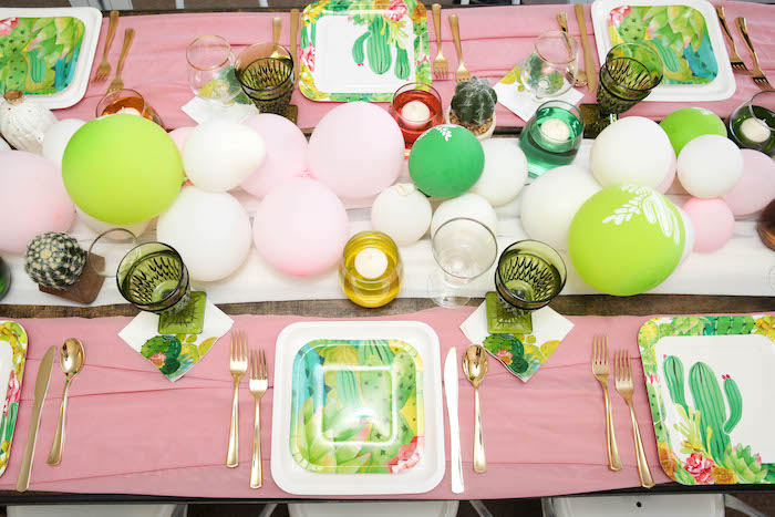 "Cactus-inspired guest tabletop from a ""Love Grows Here"" Cactus Themed Wedding on Kara's Party Ideas 