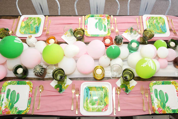 """Guest tabletop from a """"Love Grows Here"""" Cactus Themed Wedding on Kara's Party Ideas 