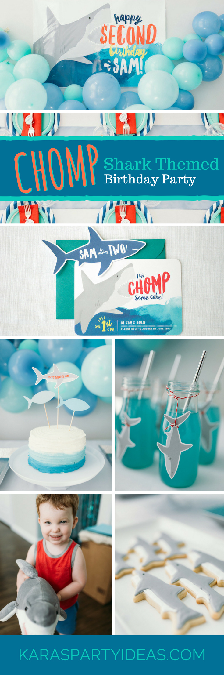 Chomp Shark Themed Birthday Party via Kara's Party Ideas