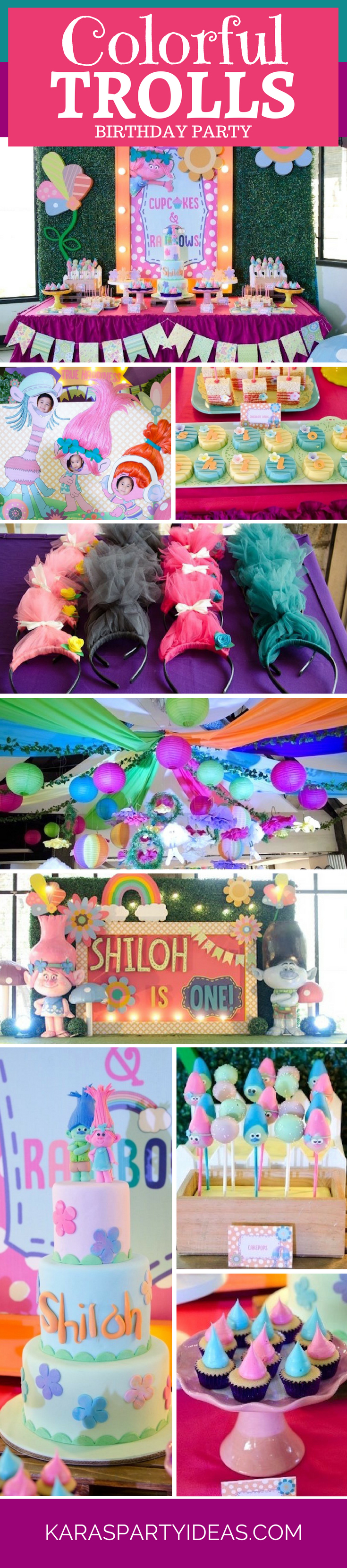 Colorful Trolls Birthday Party via Kara's Party Ideas