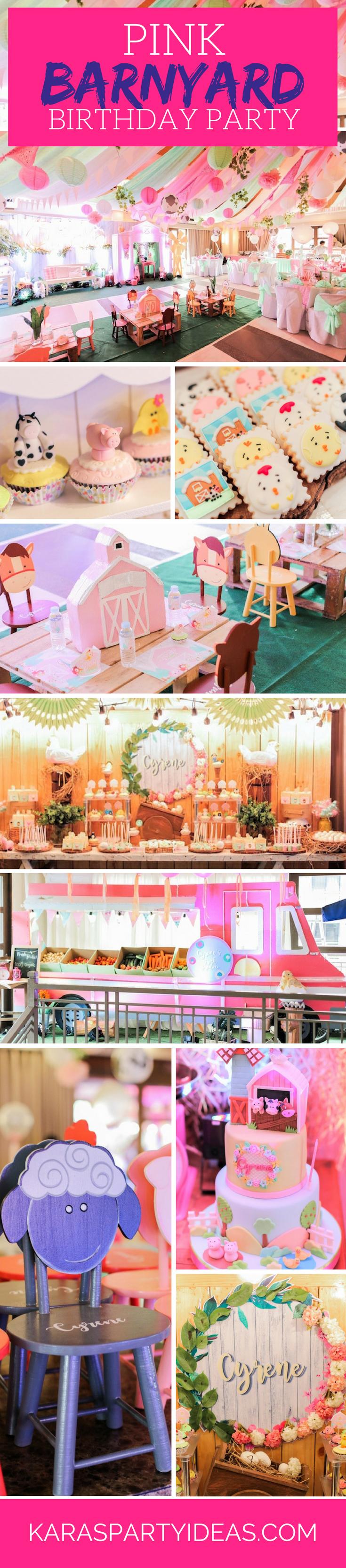 Pink Barnyard   Girl Farm Birthday Party via Kara's Party Ideas