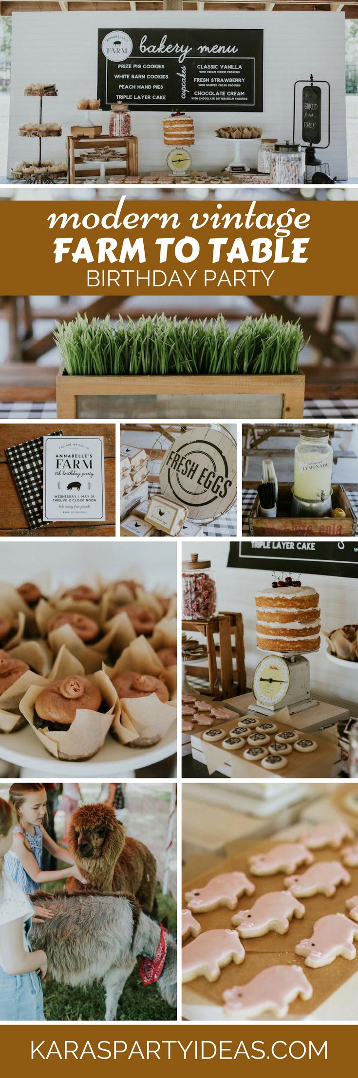 Modern Vintage Farm to Table Birthday Party via Kara's Party Ideas