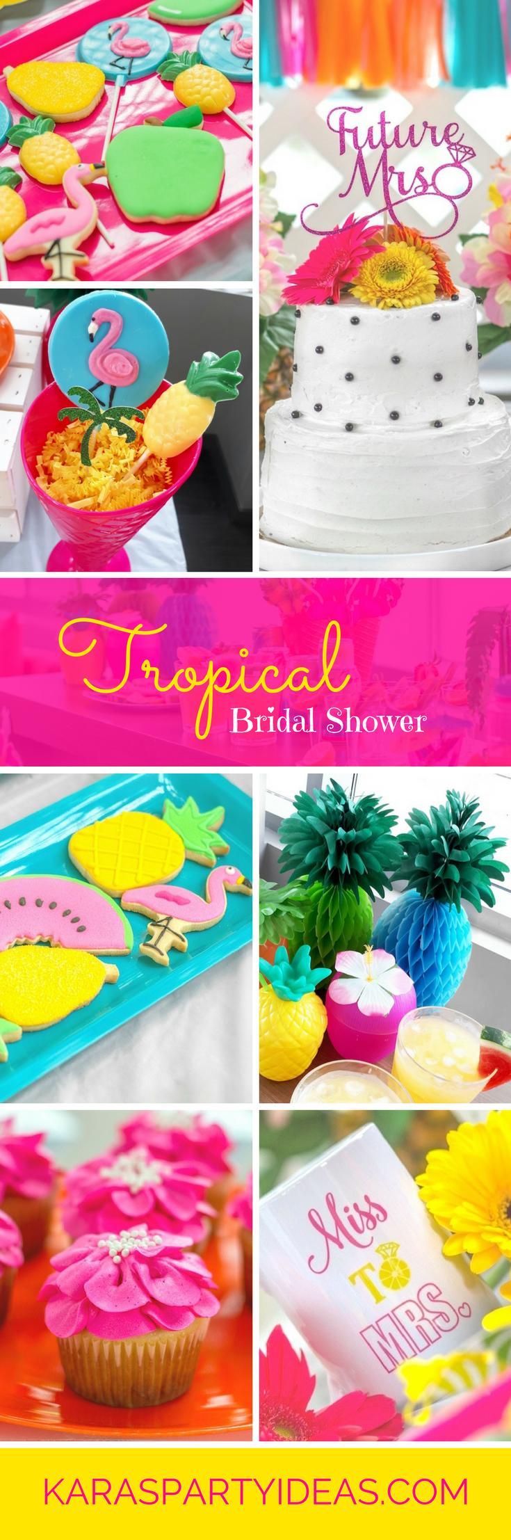 Tropical Pineapple and Flamingo Bridal Shower via Kara's Party Ideas