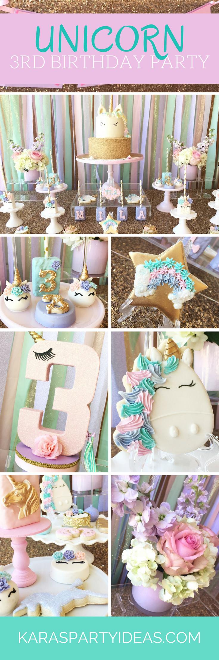 Unicorn 3rd Birthday Party via Kara's Party Ideas