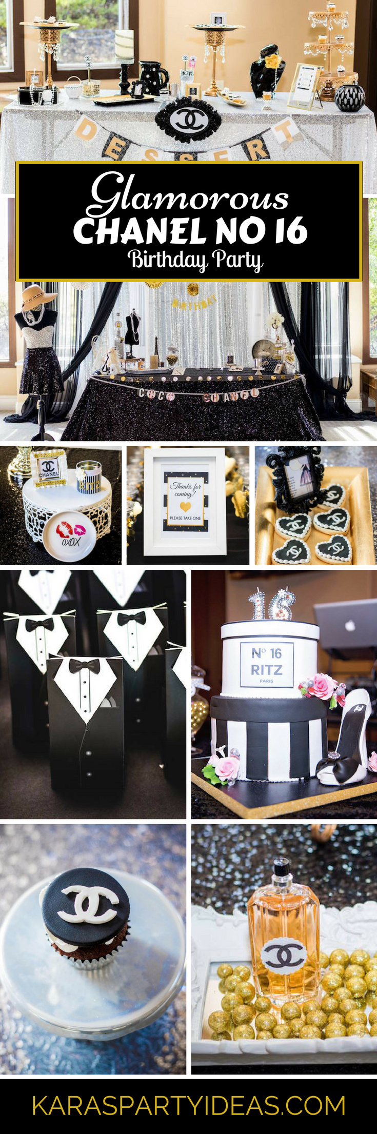 Glamorous Chanel no 16 birthday party via Kara's Party Ideas