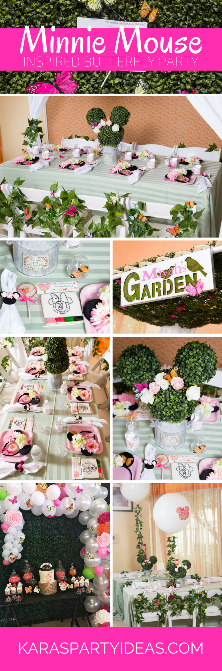Minnie Mouse Inspired Butterfly Birthday Party via Kara's Party Ideas | KarasPartyIdeas.com
