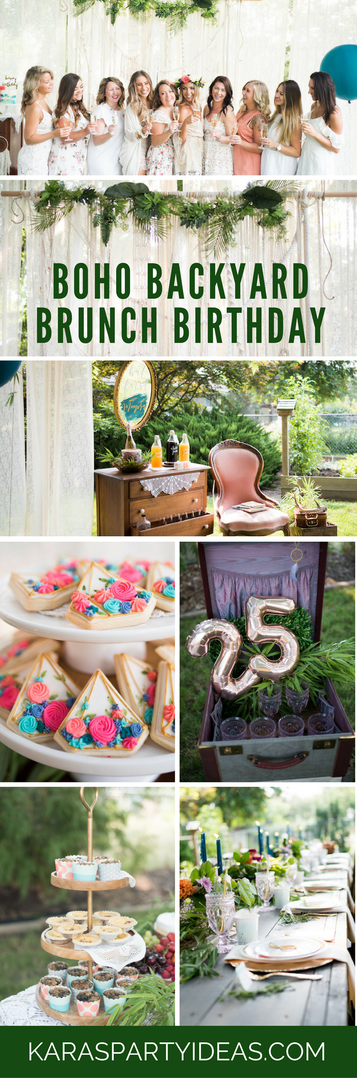 Boho Backyard Brunch Birthday Party via Kara's Party Ideas | KarasPartyIdeas.com