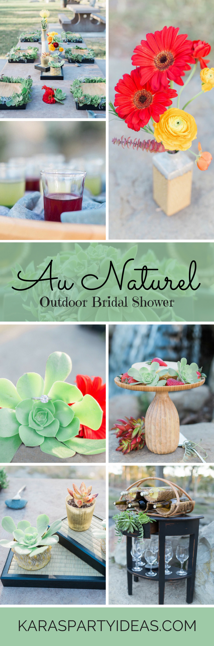 """Au Naturel"" Outdoor Bridal Shower via Kara's Party Ideas"