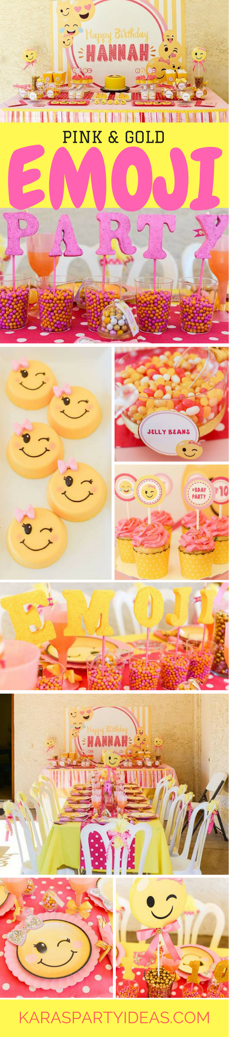 Pink and Gold Emoji Birthday Party via Kara's Party Ideas