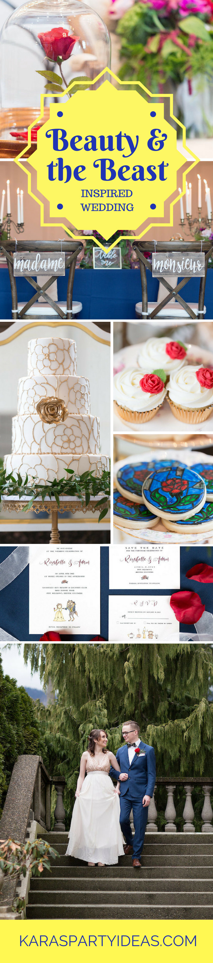 Beauty and the Beast Inspired Wedding via Kara's Party Ideas