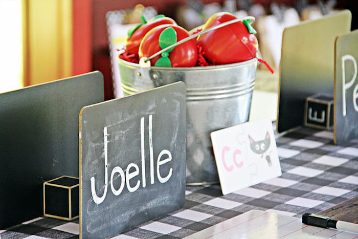 Blackboard place card from a B is for Back to School Party on Kara's Party Ideas | KarasPartyIdeas.com (18)