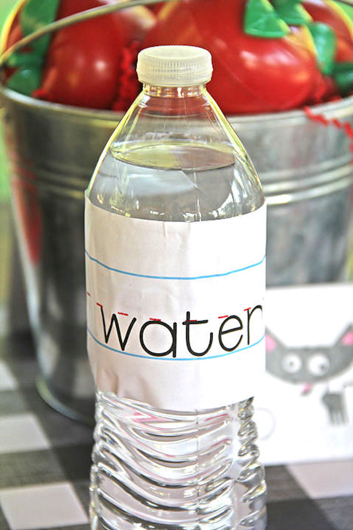 Water bottle wide ruled paper label from a B is for Back to School Party on Kara's Party Ideas | KarasPartyIdeas.com (15)