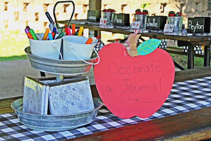 Decoration staton from a B is for Back to School Party on Kara's Party Ideas | KarasPartyIdeas.com (13)