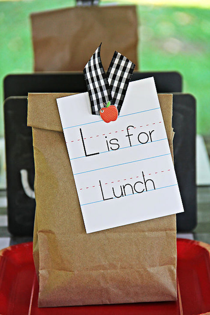 L is for Lunch - lunch sack from a B is for Back to School Party on Kara's Party Ideas | KarasPartyIdeas.com (12)
