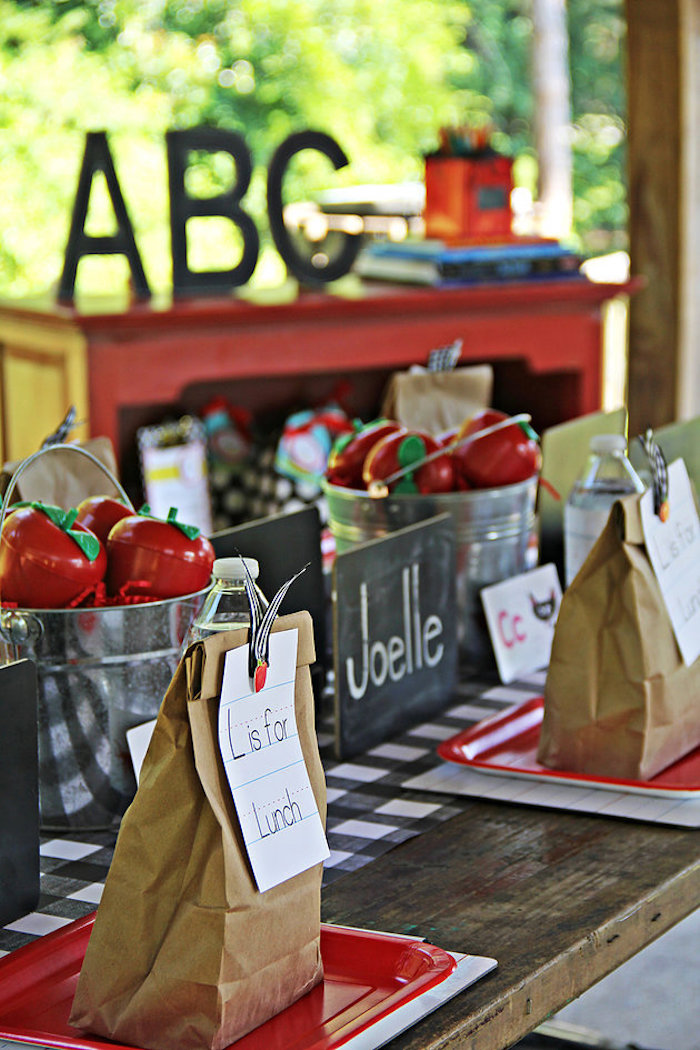 Lunch sack guest table from a B is for Back to School Party on Kara's Party Ideas | KarasPartyIdeas.com (11)