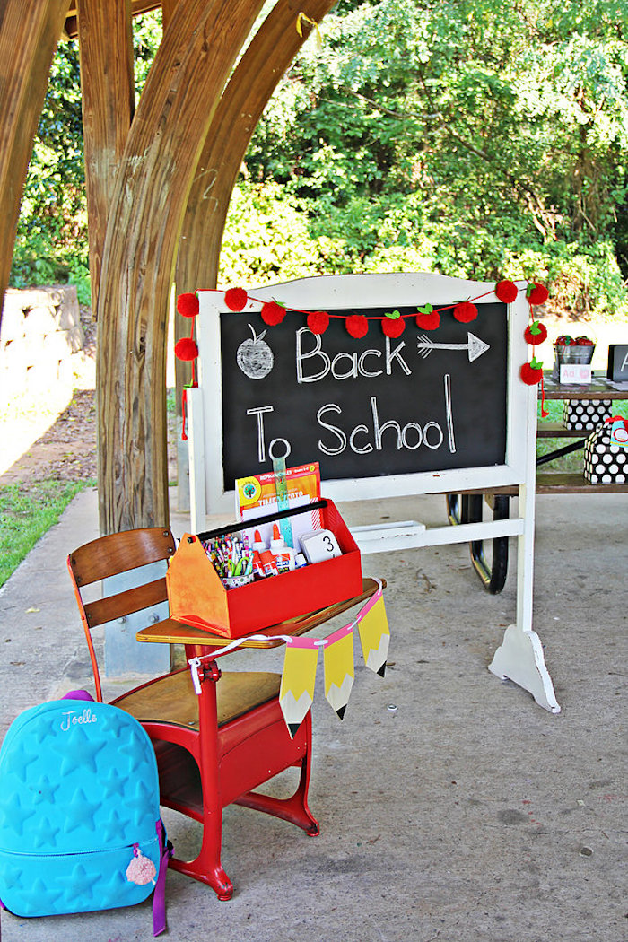 Chalkboard signage from a B is for Back to School Party on Kara's Party Ideas | KarasPartyIdeas.com (9)
