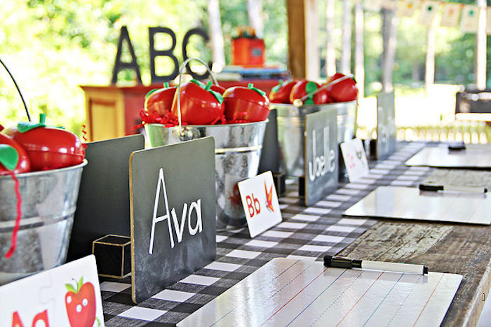 Guest tablescape from a B is for Back to School Party on Kara's Party Ideas | KarasPartyIdeas.com (21)