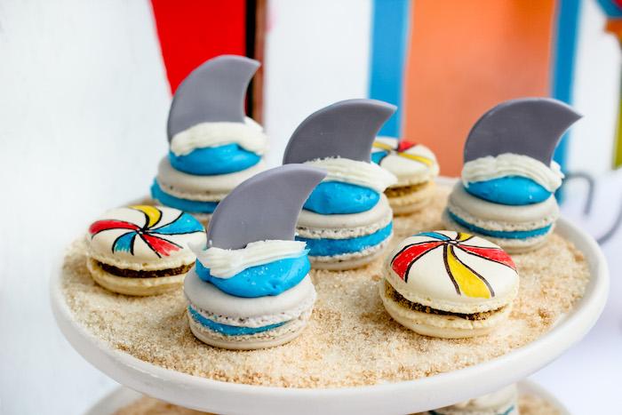 Shark & beach ball macarons from a Beached Shark Birthday Party on Kara's Party Ideas | KarasPartyIdeas.com (6)
