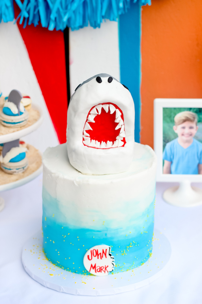 Shark Cake from a Beached Shark Birthday Party on Kara's Party Ideas | KarasPartyIdeas.com (5)