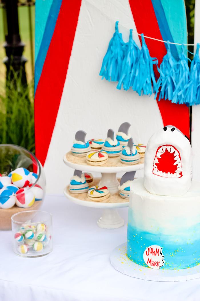 Cake table from a Beached Shark Birthday Party on Kara's Party Ideas | KarasPartyIdeas.com (4)