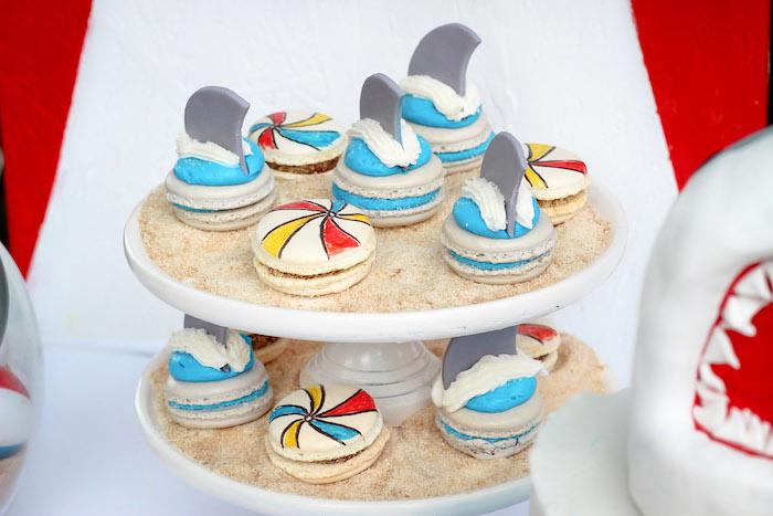 Shark and beach ball macarons from a Beached Shark Birthday Party on Kara's Party Ideas | KarasPartyIdeas.com (15)
